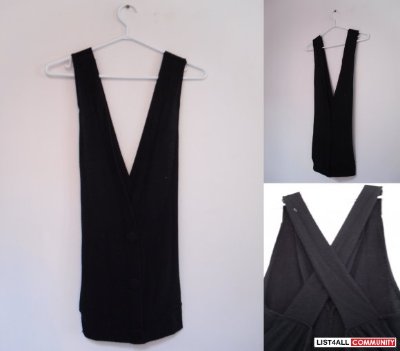 REDUCED $15 - Black overall/vest-like top