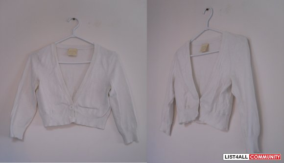 REDUCED $13 - short white cardigan