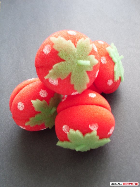 Strawberry Sponge Hair Curlers from Taiwan!!