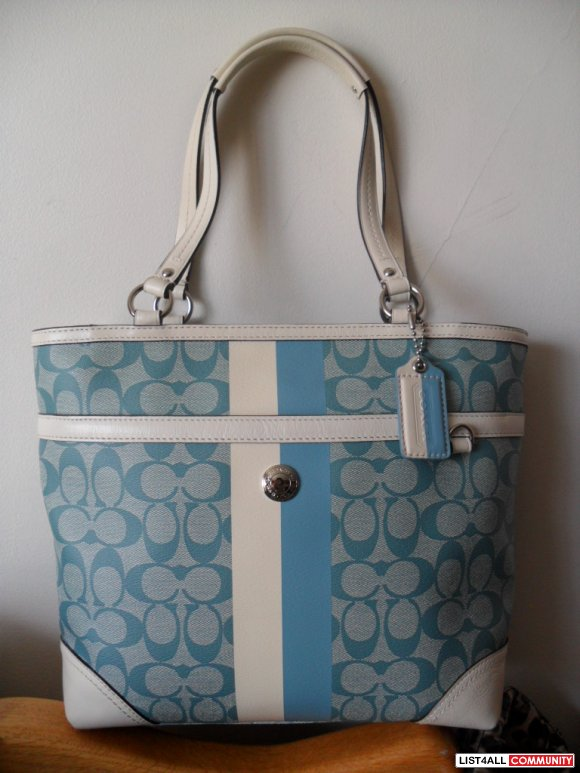 Authentic Blue  White Coach Bag