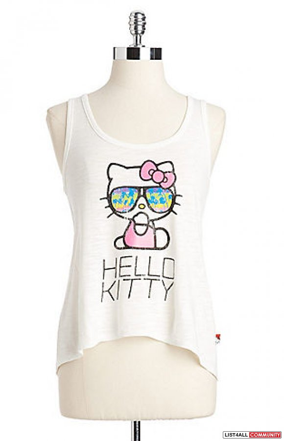 Hello Kitty Lace-Up Back Tank Top