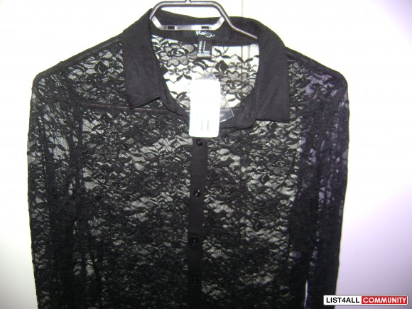 Forever 21- Lace long-sleeve collar shirt- Small