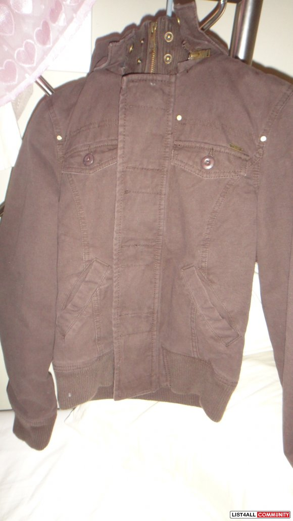 BRAND NEW BROWN TNA CANVAS JACKET - XS