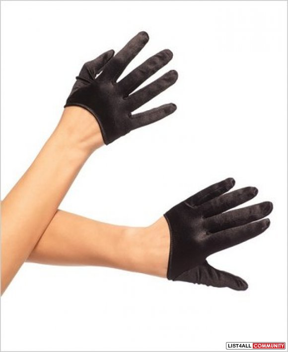 Mini Cropped Satin Gloves black One Size