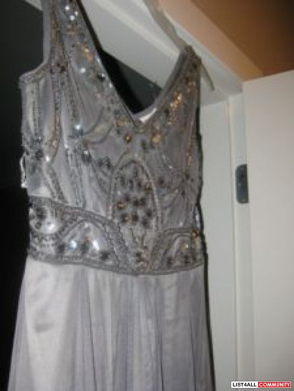 Women dress  grey with beads brand new size  8 $ 100