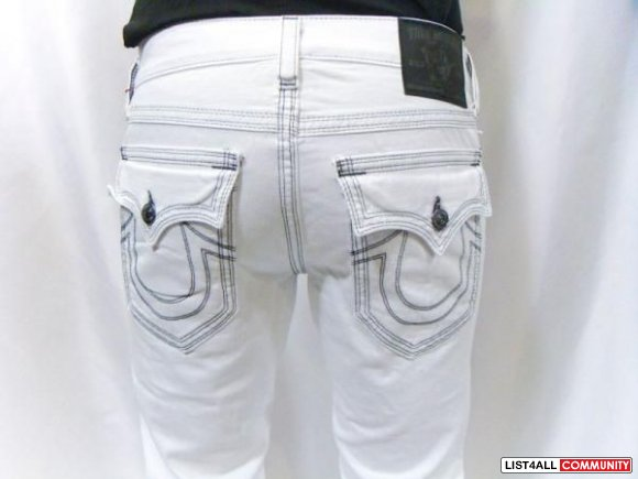 True Religion White Stitching Jeans True Religion White Jeans