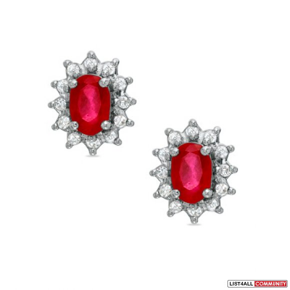 ruby and diamonds - pendant and earring