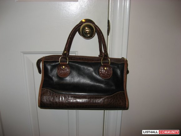 Vintage Brahmin Two Tone Croc Embossed Leather Handbag
