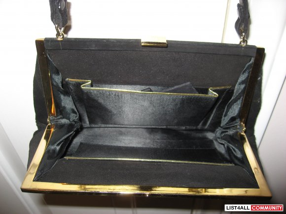Vintage Black Suede Handbag with Mother of Pearl Clasp
