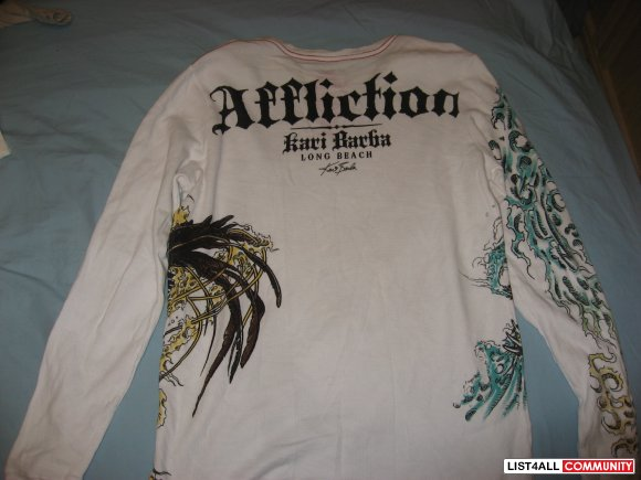 Affliction Red Label Kari Barba Long Sleeve Shirt Size M