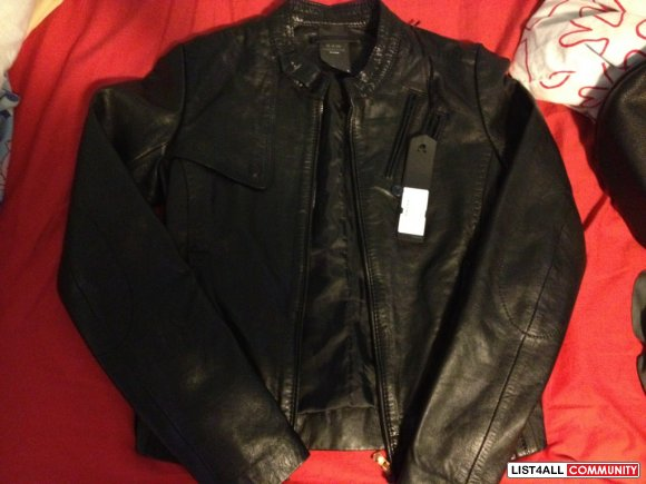 QUICKSELL!! BNWT women's g-star genuine black leather jacket size