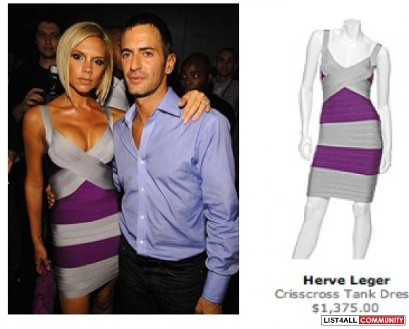 Herve Leger replica Crisscross Bandage Dress seen on celebs