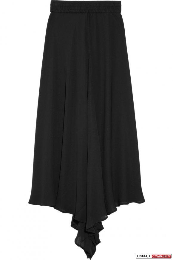 oak broome asymmetric georgette midi skirt size s